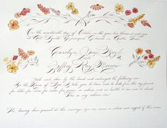 marriage certificate. calligraphy and watercolor.