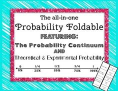 The All-In-One Probability Foldable Featuring: the probability continuum and theoretical vs. experimental probability.  A great intro into probability!!  Contains definitions and examples.