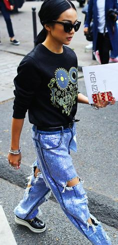 Kenzo sweatshirt, Ashish jeans, and Stella McCartney shoes