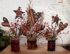 Primitive Crafts - these would be easy to make with covered tin can containers. Primitive Crafts - these would be easy to make with covered tin can containers. Americana Crafts, Country Crafts, Country Decor, Tin Can Crafts, Decor Crafts, Crafts To Make, Homemade Crafts, Wood Crafts, July Crafts