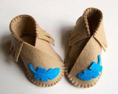 Baby Shoe KIT Wool Felt Moccasins DIY Sewing Kit by FeltOnTheFly