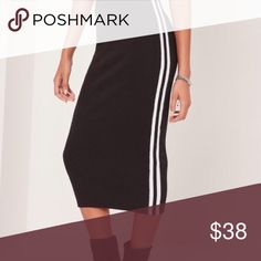 Ribbed bodycon side stripe midi skirt black black bodycon skirt. - featuring contrast side stripes for that sport chic vibe. Missguided Skirts Midi