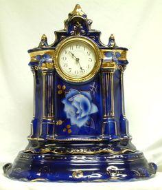 Ca. 1900 Two-Part Flow Blue Pottery Mantel Clock - Cobalt Blue with Gold Trim
