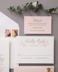 Elegant Blush and Gold Letterpress Wedding Invitations by Missive