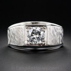 1.00 Carat Gent's Mid-Century Diamond Ring