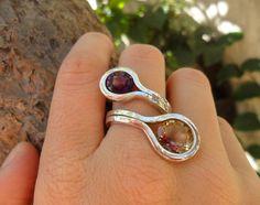 Handmade sterling silver ring with  Amethyst and Ametrine gemstone