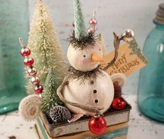 Christmas Decoration // Snowman // Folk Art by CatandFiddlefolk, $69.00