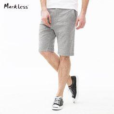FuzWeb:Markless Summer Casual Man Shorts Knee Length Men's Gray Shorts Male Loose Straight Beach Short Pants Comfortable