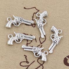 99 Cent 12 stks Charms pistool 22*12mm Antieke Maken hanger fit, Vintage Tibetaans Zilver, DIY armband ketting