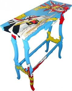 super comic inspired paintings on vintage furniture pieces from Sylvia Zacchello