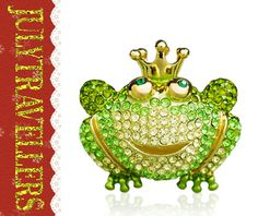 A High Quality  Green Frog W Crown Pin Brooch by julytraveller, $15.00