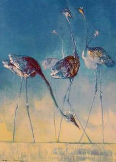 Signed and numbered by the artist. Size: x / x This image shows the eponymous blue bird standing against a sunrise sky, their tall legs a Bird Artists, Great Artists, Bird Stand, Bluebirds, Image Shows, Flamingo, Sunrise, Solomon, Painting