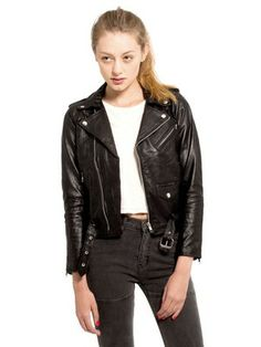 Womens Biker Jacket Black // made from recycled materials //Deadwood Leather