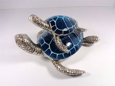 NAUTICAL SEA LIFE TWIN BLUE SEA TURTLES DECORATIVE ARTWORK TABLE STATUE FIGURINE