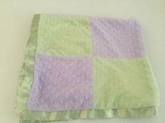 Cocalo Baby Blanket Purple Green Minky Dots Squares Patchwork Velour Satin   eBay