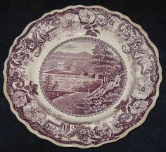 Circa 1815-1834 Historical Staffordshire Purple Transferware Plate 'Picturesque Views near Sandy Hill Hudson River' by James & Ralph Clews.