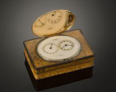 Gold and Burr Wood Music box wand Watch #RauAntiques