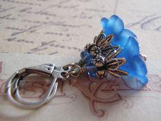 Sapphire Blue Earrings Antique Silver Lever Back Ear Wire Lucite Flower Lightweight