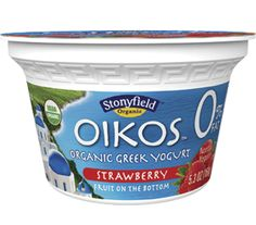 Oikos organic non fat Strawberry Greek yogurt is made with pure, natural ingredients and strained for a thick, creamy texture and delicious flavor.  #Stonyfield