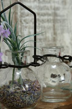 Hanging Glass Bottle with Metal Holder