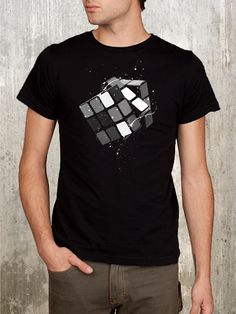 Rubik's Cube and Paint Splatters - Men's T-Shirt - Available in S, M, L, XL and 2XL. $22.50, via Etsy.