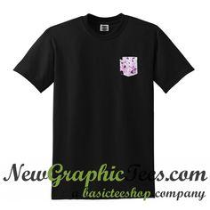 Black Floral Pocket T Shirt