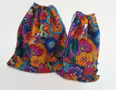 Flowers and Cats Colorful Drawstring Fabric Gift by debupcycles
