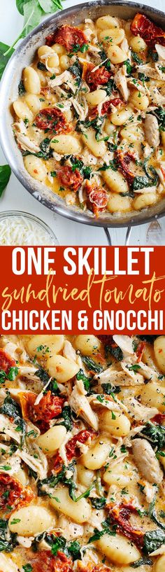 This EASY One Skillet Sun Dried Tomato Chicken and Gnocchi is the perfect weeknight dish that is super flavorful and made in under 30 minutes! (Cheese Plate Lunch)
