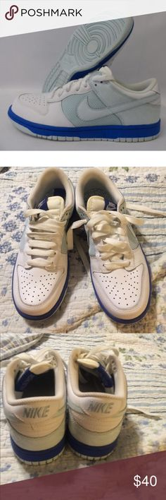 Nike womens low retro dunks Like new barely worn white and two shades of blue Nike Shoes Athletic Shoes