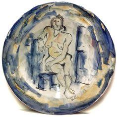 DOMENICO CANTATORE (1906-1998) NUDO DIPINTO SU PIATTO IN CERAMICA 52cm (1/50) ☲☲☲☲☲☲☲☲☲☲☲☲☲☲☲☲☲☲☲☲ NAKED WOMAN ON CERAMIC PLATE
