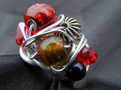 Your place to buy and sell all things handmade Bold Rings, Rings Cool, Wire Wrapped Rings, Gold Glass, Metal Beads, Etsy Jewelry, Wire Wrapping, Silver, Red