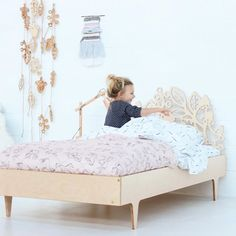 @twiggeddesign bed | @burrowandbe bedding #twiggeddesign #plywoodbed #madeinnz #girlsroomdecor #girlsroominspo