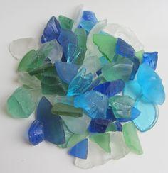 Beach Decor Sea Glass 2 lb Hand Tumbled Blue Green by CereusArt, $15.00