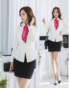 Diseño de uniforme de oficina para mujer Blazer trajes otoño del resorte  profesional Business Women chaquetas 424d1d1e565a