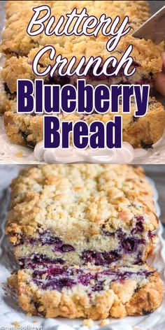 Moist quick bread stuffed full of fresh blueberries! This easy blueberry bread recipe is made extra special with the addition of a buttery sugar streusel. Frozen Blueberry Recipes, Blueberry Quick Bread, Blueberry Desserts, Banana Bread Recipes, Easy Cake Recipes, Baking Recipes, Dessert Recipes, Blueberry Recipes With Bisquick, Easter Recipes