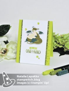 Handmade card by Natalie Lapakko featuring a sneak peek of the Myths and Magic Suite from Stampin' Up! 2018 Occasions Catalog