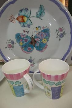 Porcelana 4 Ceramic Design, Coffee Cups, Tea Party, Decoupage, Glow, Butterfly, Pottery, Hand Painted, Plates