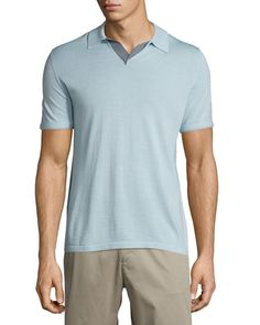 VINCE Wool-Blend Short-Sleeve Polo Shirt. #vince #cloth #