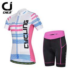 Cheji Womens Whitening Bike Jerseys Set Cycling Shirts And Bicycle Padded Shorts White And Pink For Women Bike Kit For Lady