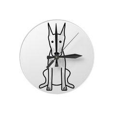 Doberman Pinscher Dog Cartoon Round Wallclock