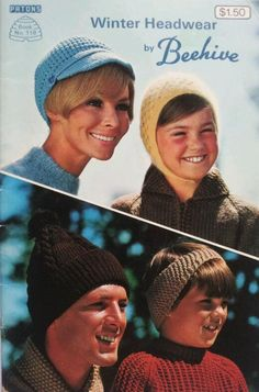 Items similar to Beehive Patons Book 118 Vintage Winter Hats Knitting and Crochet Patterns Hats/Caps/Hoods/Headbands/Touques/Bonnets/Funky Hats NOT A PDF on Etsy Needlepoint Patterns, Knitting Patterns, Crochet Patterns, Hat Patterns, Winter Headwear, Winter Hats, Funky Hats, Knit Crochet, Crochet Hats