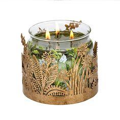 Porte-pot à bougie Feuille dorée - Porte-pot  à bougie solide avec finition métallique dorée  élégante. (pot). Haut. 8 cm.