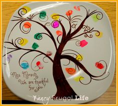 Fancy Frugal Life: Finger Print Tree Plate (Kids Fall/ Thanksgiving Party)