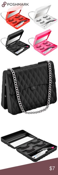 """New Black Falsie Eyelash Case Holder Handbag Style Brand new eyelash case by Eye Kande that's compact and lightweight making it easy for travel.   Holds 2 pairs of fasle eyelashes.  Compartment that can also hold lash glue and a tweezer.  Available colors: black case with silver chain, pink case with silver chain, red case with silver chain, and white case with gold chain.  Each sold separately.  Measurements in inches: 3.5"""" width x 4.5"""" length x 1"""" height.  Includes a mirror.  Does NOT…"""