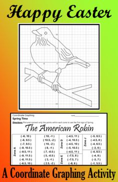 The red, red Robin goes bob, bob, bobbin along.  Students are given a list of coordinate points to connect. They should connect the points only within the designated zones. When they are done, they will have an picture of an American Robin.