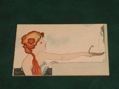 RAPHAEL KIRCHNER ART NOUVEAU GLAMOUR POSTCARD - LOVE THOUGHTS - c1900.