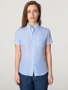 American Apparel Women's Unisex Stripe Short Sleeve Button-Down Shirt XX-Small-Blue White Vertical Stripe. From #American Apparel. Price: $15.00