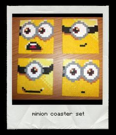 Minion coaster set perler bead.