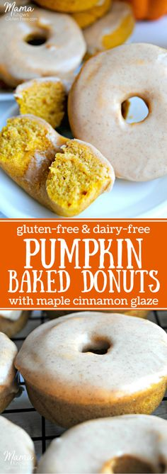 Gluten-Free Baked Pumpkin Donuts with Maple Cinnamon Glaze (Paleo, dairy-free)-use almond flour, use coconut oil not vegetable (cinnamon desserts gluten free) Dairy Free Donuts, Dairy Free Bread, Dairy Free Snacks, Dairy Free Breakfasts, Gluten Free Sweets, Gluten Free Baking, Dairy Free Recipes, Gluten Free Pumpkin Donut Recipe, Dairy Free Halloween Recipes