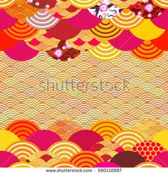 fish scales simple Nature background card banner template, japanese wave circle pattern yellow orange red burgundy colors card banner design on orange background. Vector illustration